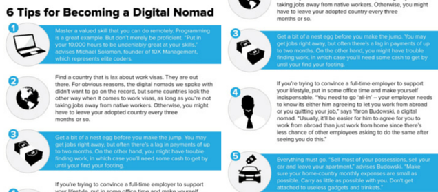 infographic about six tips for becoming a digital nomad
