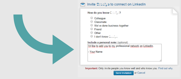 personalize linkedin email request