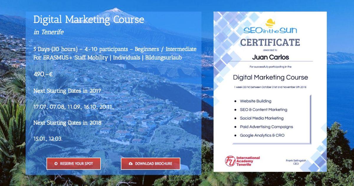 Digital Marketing Course in Tenerife - Very Intensive | SEOintheSUN
