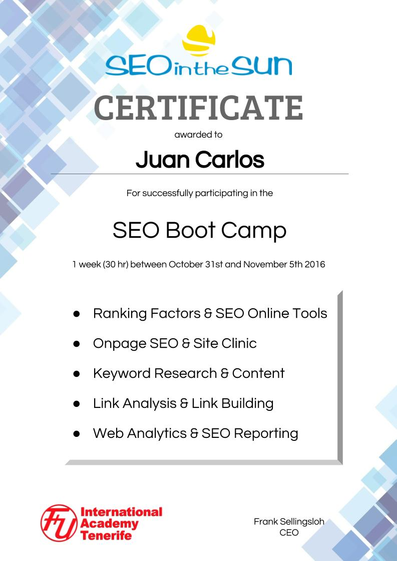SEO Boot Camp Certificate
