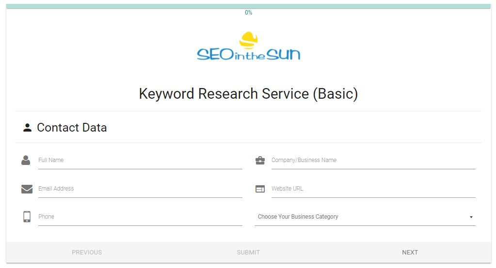 Basic Keyword Research Form