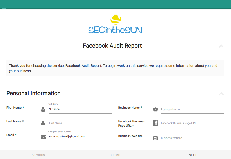 Facebook Audit Report Service | SEOintheSUN Services