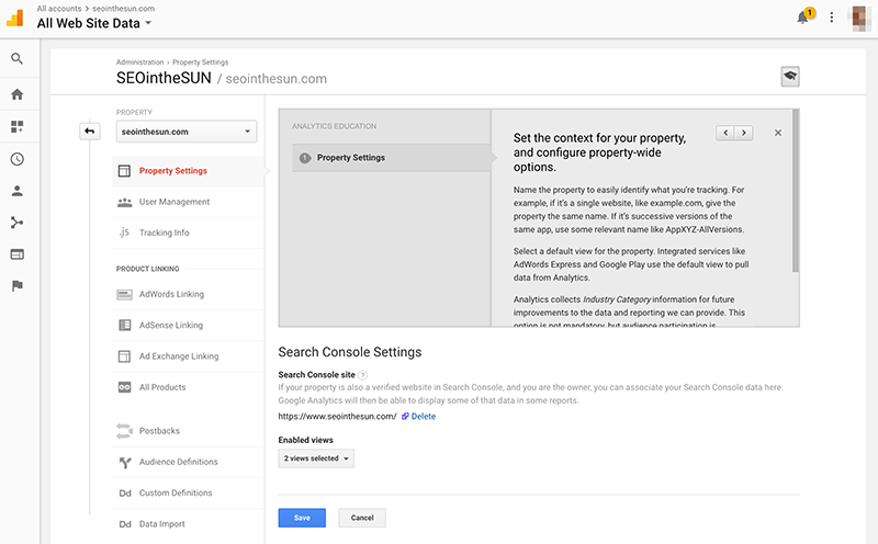 Google Analytics Search Console Settings