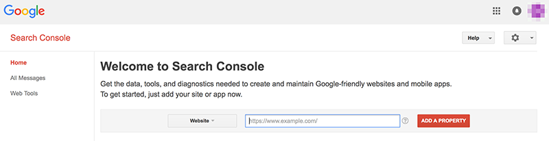 Google Search Console Add Website