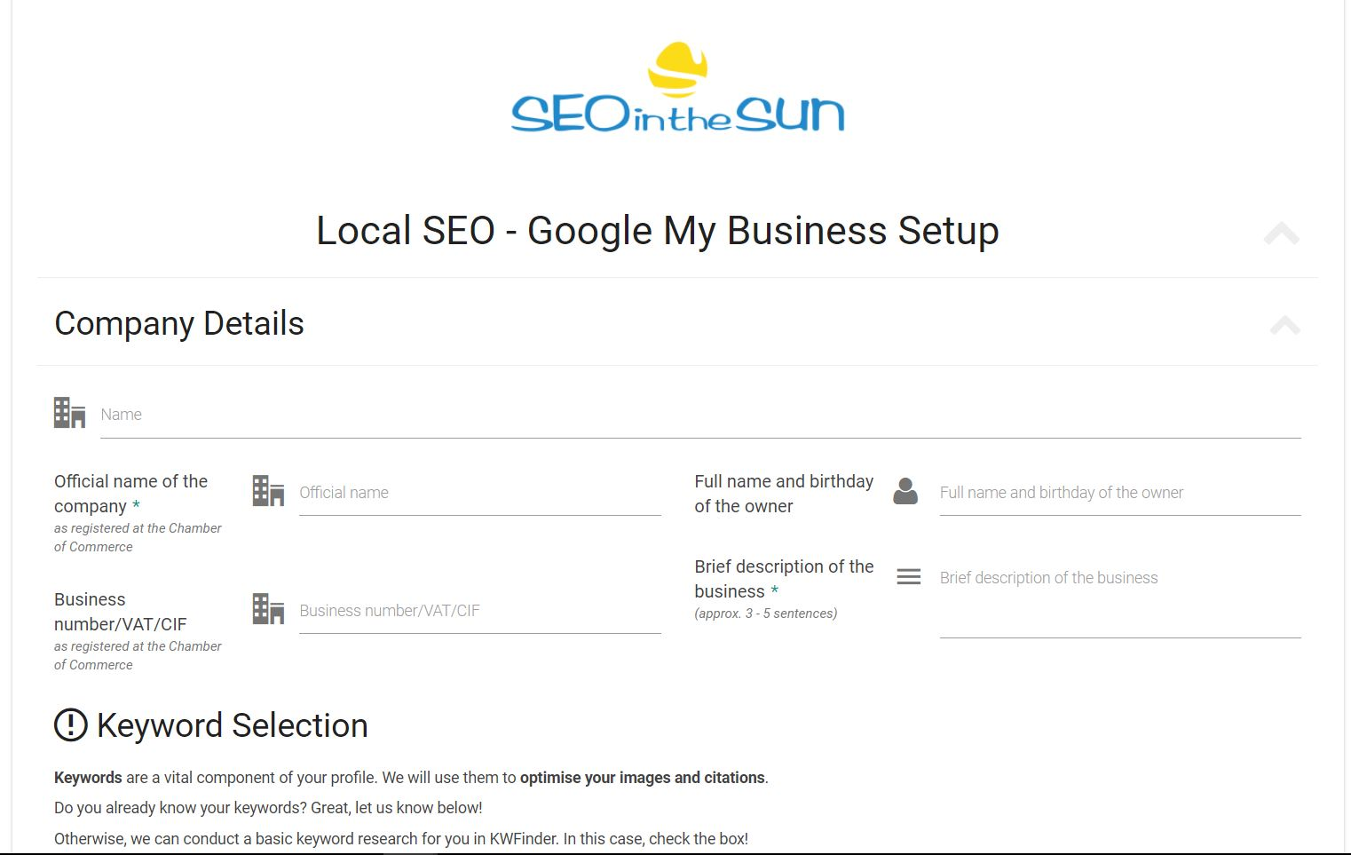 Info Form Affordable Local SEO Service