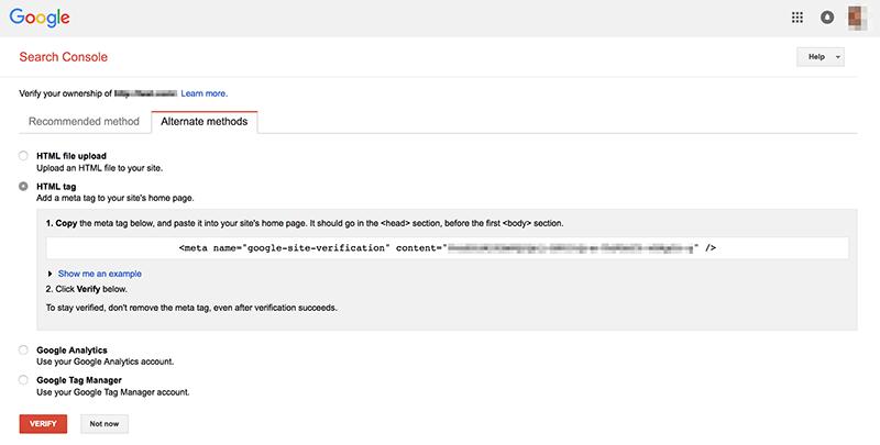 Verify Google Search Console HTML Tag