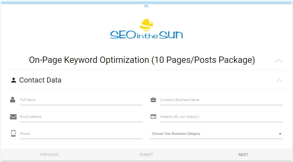 On-Page Keyword Service Form