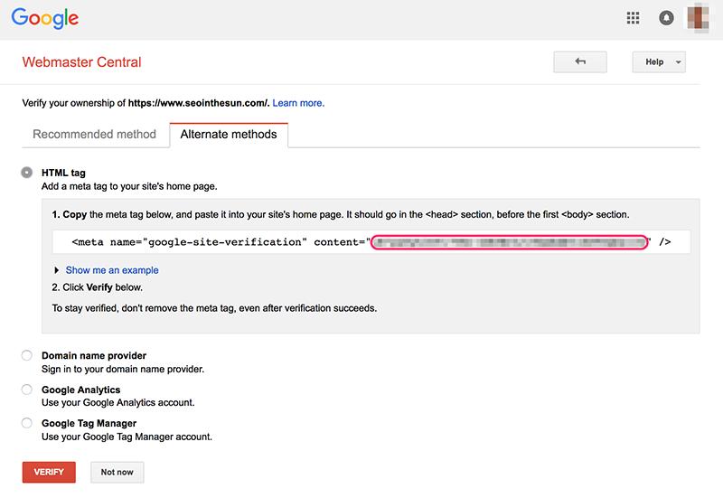 Google Search Console HTML Tag