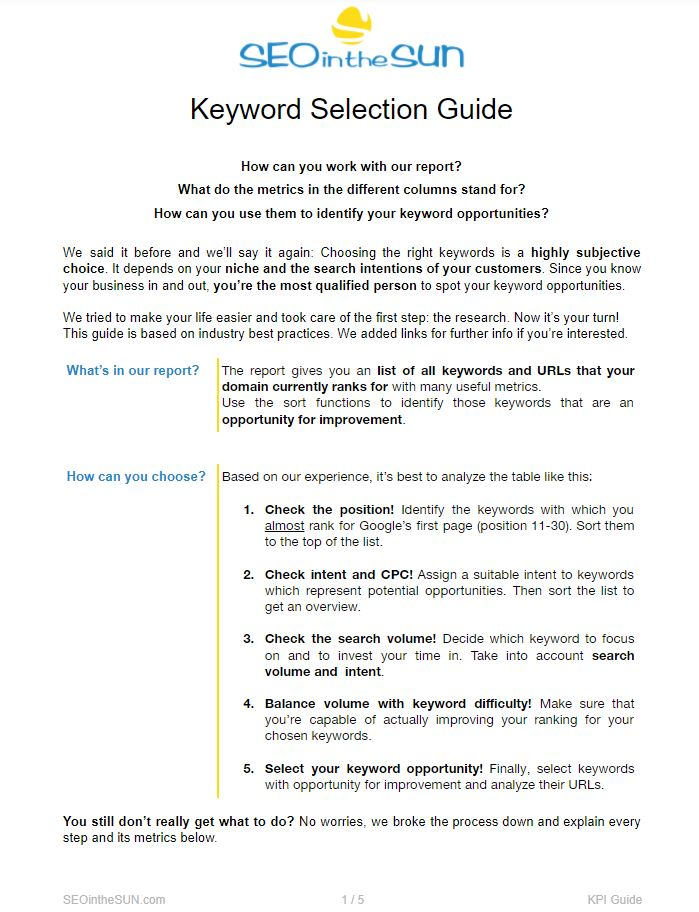 Keyword Selection Guide Cover Page