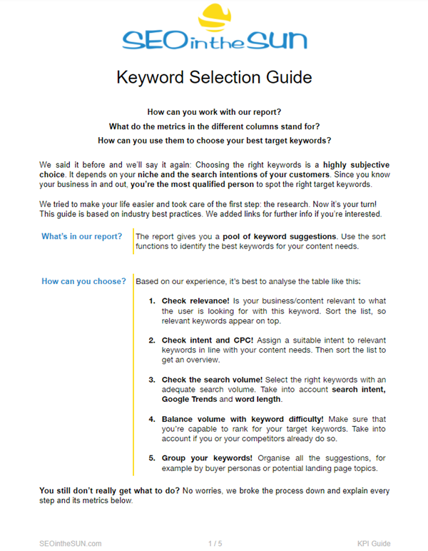 Keyword Selection Guide First Page