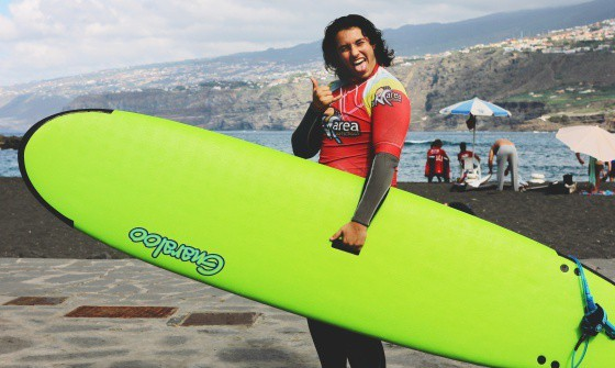 Surfer smiling