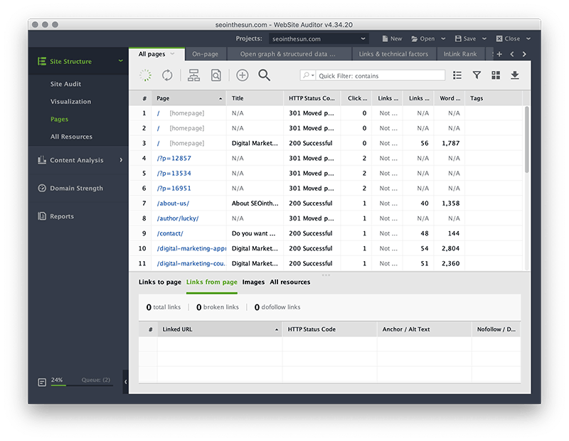WebSite Auditor Interface